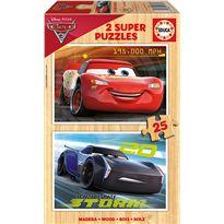 Puzzle 2 x 25 cars 3 madera