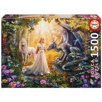 Puzzle 1500 dragón, princesa y unicornio - 04017696