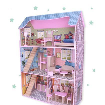 Casa de madera de muñecas con muebles - 90800745