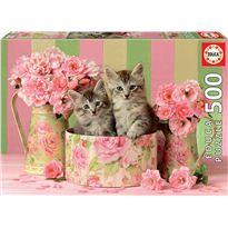 Puzzle 500 gatitos con rosas