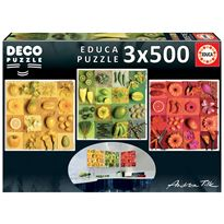 Puzzle 3x500 exotic fruits and flowers, andrea til - 04018454