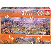Puzzle 2x100 animales salvajes - 04018606