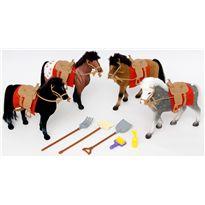 Conjunto 4 caballos c/ accesorios derby stable - 90033861(4)